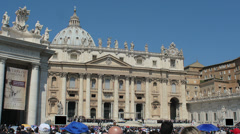 Crowd in front of Vatican, St Peter of Rome. Pope Francis. 4k footage - stock footage