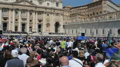 Crowd in front of Vatican, St Peter of Rome. Pope Francis. 4k footage Stock Footage