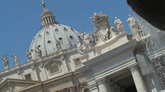 Saint Peters Square views with fountain in foreground - stock footage