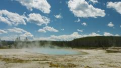 Yellowstone time lapse with clouds passing by over a hot pot. Stock Footage