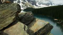 Male hiker enjoying success  Lake Moraine, Canada - stock footage