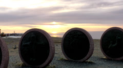 Europe Norway the North Cape 030 big stony coins in front midnight sun Stock Footage