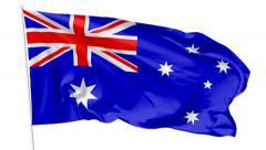 Flag of Australia on flagpole - stock footage