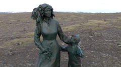 Europe Norway the North Cape 029 mother and child statue on a plateau Stock Footage