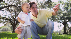 Healthy Boy Toddler Young Father Outdoors Park Stock Footage