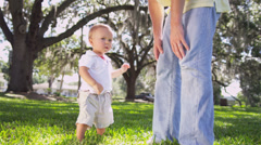 Happy Caucasian Father Young Son Together Park Stock Footage