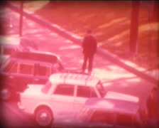 8MM ITALY mysterious man walking in the street - stock footage