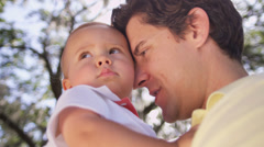 Close Up Little Caucasian Boy Devoted Father Outdoors Park Stock Footage