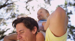 Portrait Cute Male Caucasian Toddler Loving Father Stock Footage