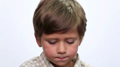Portrait close up of smiling boy face. Child face close up  (emotions). Stock Footage