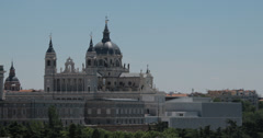 4K Video of the beautiful Almudena Cathedral in Madrid, Spain - stock footage