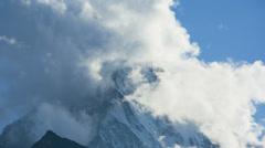 Motion time lapse cloud clearing mountain, Matterhorn, Zermatt Stock Footage