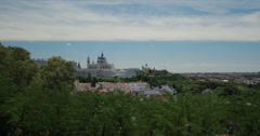 4K Video of the beautiful Madrid skyline and Almudena Cathedral, Spain - stock footage