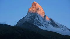 Dawn time lapse sunrise shadows, Matterhorn, Zermatt Stock Footage