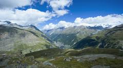 Motion panning time lapse towards Zermatt town, Switzerland Stock Footage