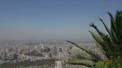 Santiago de Chile city view pan from the san cristobal hill Stock Footage