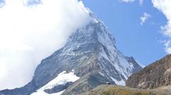Motion time lapse banner or a flag cloud, Matterhorn, Zermatt Stock Footage