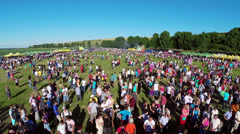 Linden tree festival, aerial perspective Stock Footage