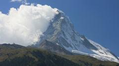 Wind cloud motion time lapse Matterhorn mountain Peak, Zermatt Stock Footage