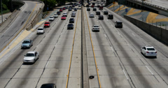 4K Freeway Traffic 25 LA Downtown Stock Footage