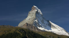 Cloud motion time lapse Matterhorn mountain Peak, Zermatt Stock Footage