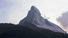 Motion time lapse view cloud vortices summit Matterhorn, Zermatt Stock Footage