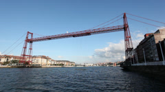 Vizcaya Bridge or Puente Colgante in Bilbao, Spain Stock Footage