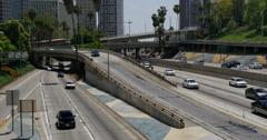 4K Freeway Traffic 26 LA Downtown Stock Footage