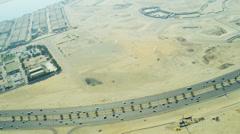 Aerial view desert expressway Dubai Stock Footage