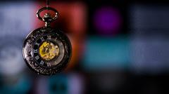 Vintage Pocket Watch Ticking Clock Stock Footage