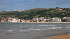 Beach of Laredo in Cantabria, Spain - stock footage