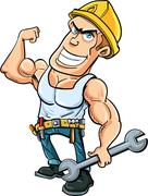 Cartoon handyman flexing his muscles Stock Illustration