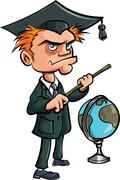Cartoon crazy teacher with a stick and a globe Stock Illustration