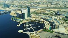 Aerial view Festival City, Dubai Stock Footage