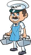 Cartoon milkman delivering milk Stock Illustration
