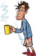 cartoon youth who has just woken up - stock illustration