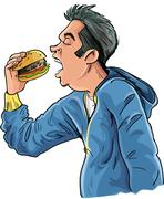 Cartoon teen eating a hamburger Stock Illustration