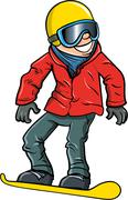 Cartoon smiling olympic snowboarder Stock Illustration