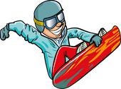 Stock Illustration of cartoon snowboarder in the air
