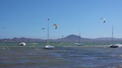 Boats, yachts and kitesurfers riding in sea. La Manga, Spain. Stock Footage