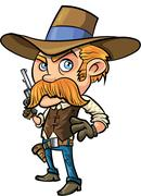 Cute cowboy cartoon with mustache Stock Illustration