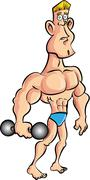Cartoon muscleman with a dumb bell Stock Illustration