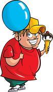 Cartoon overweight boy with balloon and ice cream Stock Illustration