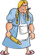 cartoon angry woman with rolling pin - stock illustration