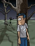 Cartoon of scared man in the woods hiding Stock Illustration