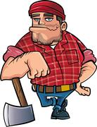 Cartoon lumberjack holding an axe Stock Illustration