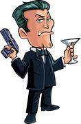 Cartoon spy character with martini Piirros