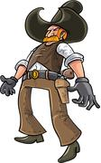 Cartoon cowboy ready to draw his gun Stock Illustration