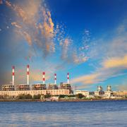 thermal power plant beside river side location use for industry and power ene - stock photo