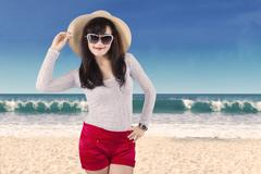 attractive woman wearing summer clothes - stock photo